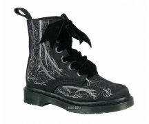 Dr. Martens 6 Loch 1460 Vena Black Blood Vessel Silver...