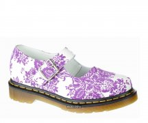 Dr. Martens Mary Jane Lamper Flocking White/Lilac