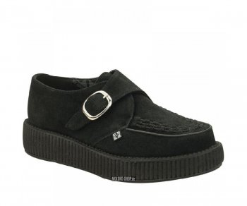 T.U.K. Creeper V8356 Black Suede Monk Buckle Round Toe Low