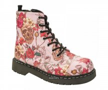 T.U.K. Boots T2229 Anarchic 7 Eye In Pink Skull Roses...