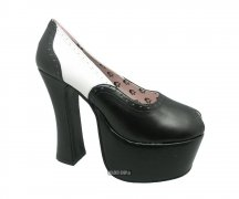 T.U.K. Pump A7106L Plateau High Heels Black/White