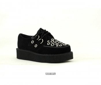 T.U.K. Creeper A8646 Black Suede Mix sized Silver Vamp Round Low