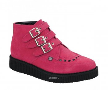 T.U.K. Creeper A8507 Lipstick Pink Suede 3 Buckle Pointed Boot