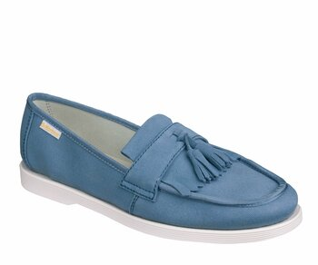 Dr. Martens Slip On Perth Tassle Loafer Off-Faded Denim Canvas