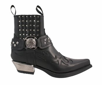 New Rock Western Boots Negro-Acero