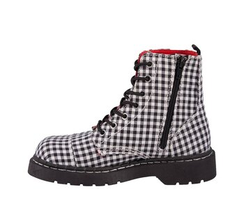 T.U.K. Boots T2187 Anarchic Black / White Gingham Fabric 7 Eye