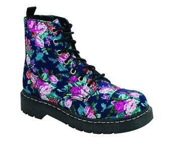 T.U.K. Boots T2204 Anarchic  7 Eye Navy Floral 36