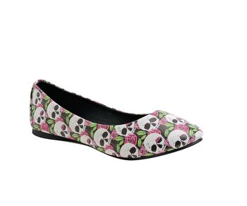 T.U.K. Ballerina A9036L Multi-Color Skull Rose FlT