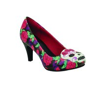 T.U.K. Pump A8671L Floral Print Day Of the Dead Skull...