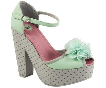 T.U.K. Pump A8334L Mint Grey Dot Chiffon Flower Peep Toe Mimi Wedge