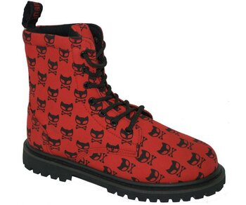 Inamagura Boots  Red + Black Cat
