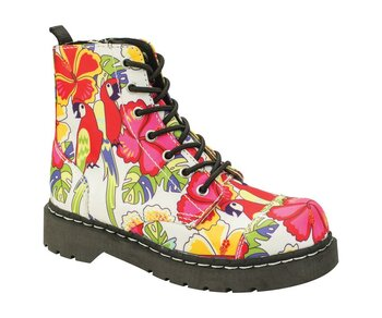 T.U.K. Boots T2230 Anarchic 7 Eye In Parrot Tropical Print Textile 37