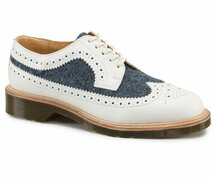 Dr. Martens 5 Loch 3989 White+Blue Smooth Blue Harris Tweed