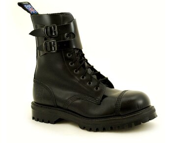 NPS Shoes LTD Premium Ranger Made in England Black 9 Loch Capped 2 Buckle Stahlkappe Boot
