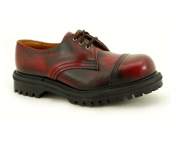NPS Shoes LTD Premium Ranger Made in England Burgundy Rub Off 3 Loch Mess 2 Stitch Capped Stahlkappe Shoe