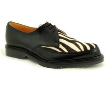 Solovair NPS Shoes Made in England 3 Loch Black/Zebra Apron