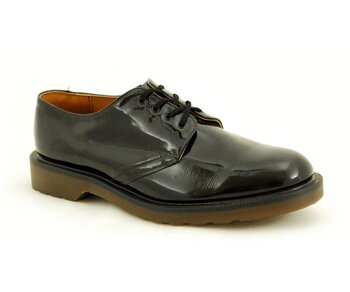 Solovair NPS Shoes Made in England 3 Eye Eye Black Patent Shoe