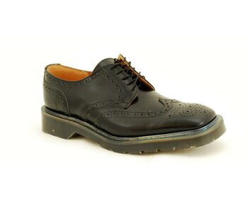 Solovair NPS Shoes Made in England 5 Eye Black Wing Cap Brogue Square Shoe