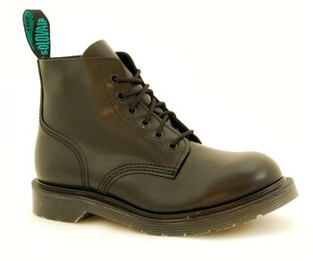 Solovair NPS Shoes Made in England 6 Eye Black Ankle Boot