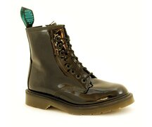 Solovair NPS Shoes Made in England 8 Eye Black Patent Boot