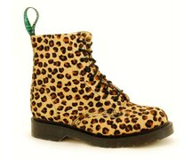 Solovair NPS Shoes Made in England 8 Eye Leopard Fur Boot