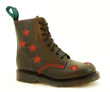 Solovair NPS Shoes Made in England 8 Eye Black Red Stars...