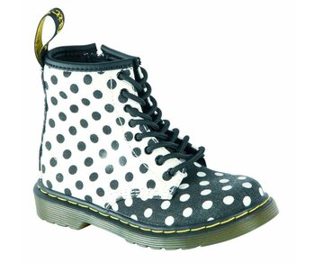 Dr. Martens Kids 8 Loch Brooklee Black+White Dots T - Canvas