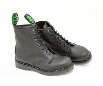 Solovair NPS Shoes Made in England 8 Eye Black Greasy Derby Boot