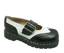 T.U.K. Mary Jane T1035 Anarchic Brogue Black/White 38