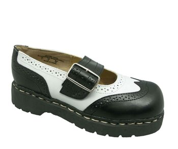 T.U.K. Mary Jane T1035 Anarchic Brogue Black/White 39